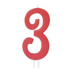Candela numero 3 rosso - cm 12