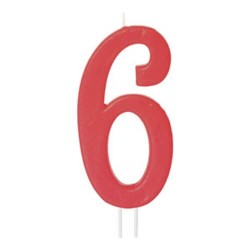 Candela numero 6 rosso - cm 12