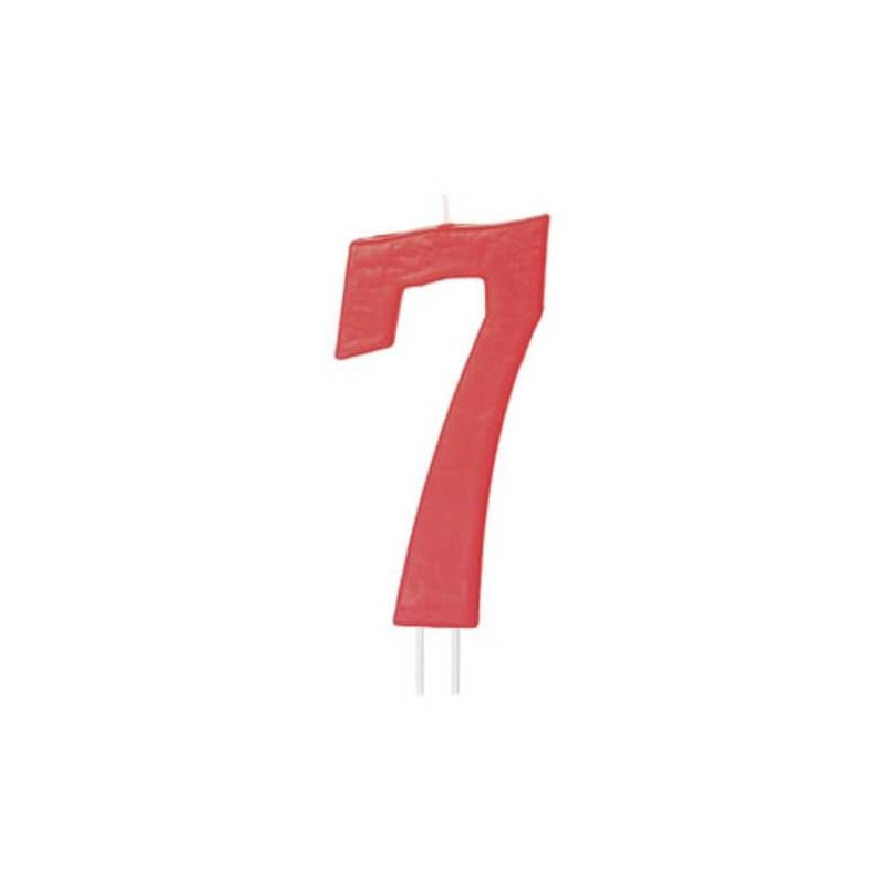 Candela numero 7 rosso - cm 12
