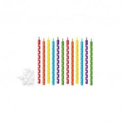 Candeline per torte di compleanno cm 10 - 12 pz colori assortiti