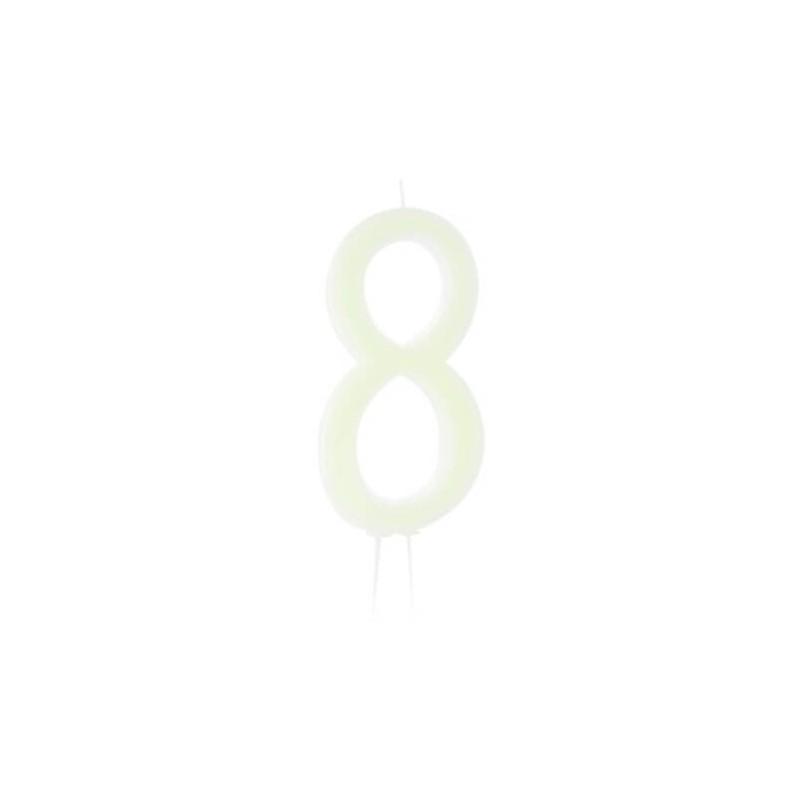 Candela fluorescente numero 8