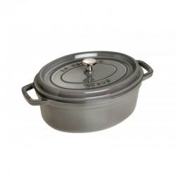Cocotte ovale in ghisa smaltata grigio cm 27 - staub