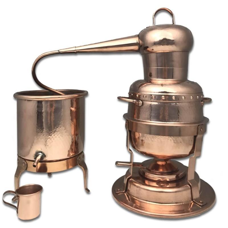 Alambicco distillatore in rame con caldaia