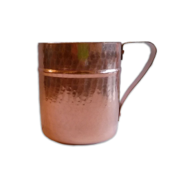 Bicchiere tipo cocktail in rame brillantato stagnato con manico