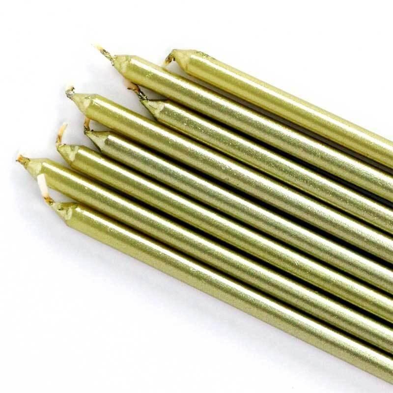 Candele lunghe sottili oro 16 pz PME