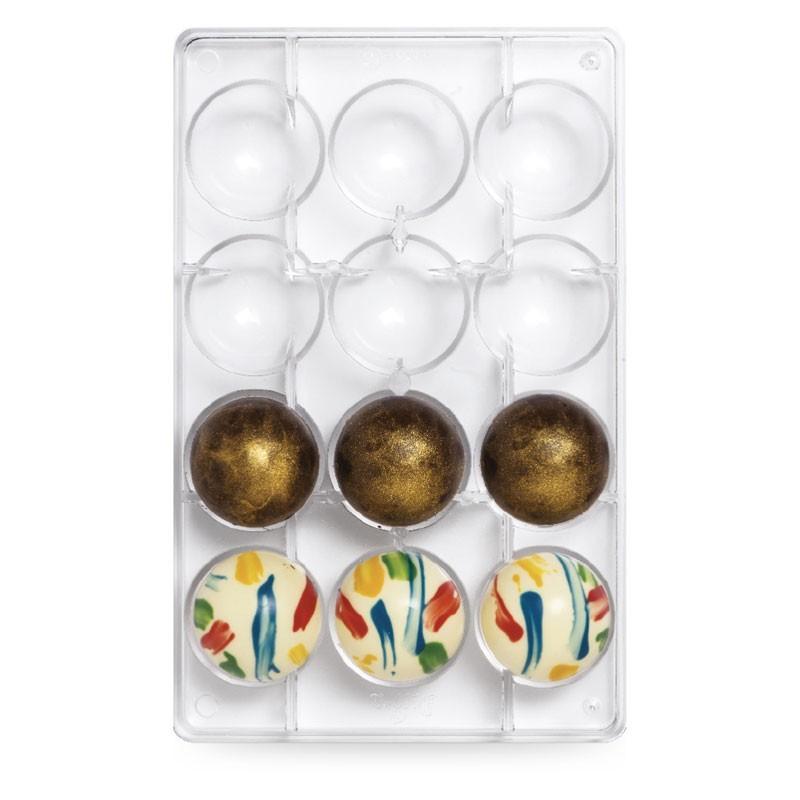 Stampo in PC per cioccolato mezza sfera mm 50