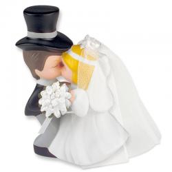 Sposini con fiore torta nuziale - cm 15