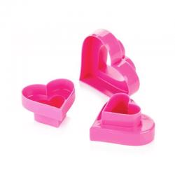 3 tagliabiscotti cuore doppi: mm 40-48-55-68-80-95