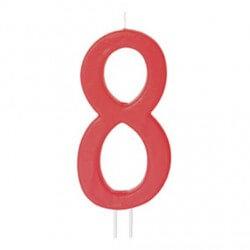 Candela numero 8 rosso - cm 12