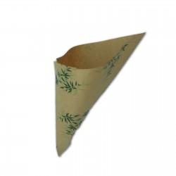 Cono in carta kraft antigrasso motivo foglie - 10 pz
