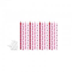 Candeline per torte di compleanno cm 12 - 16 pz rosa