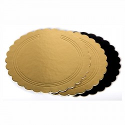 Sotto torta Oro/Nero festonato ø cm 36